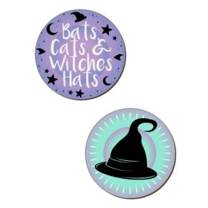 Bats Cats Witches Hats Coasters 1