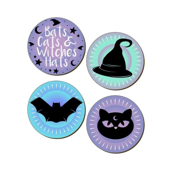 Bats Cats Witchy Hats Coasters